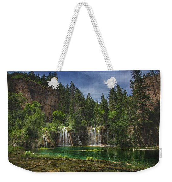 Weekender Tote Bag featuring the photograph Serene Hanging Lake Waterfalls by Andy Konieczny