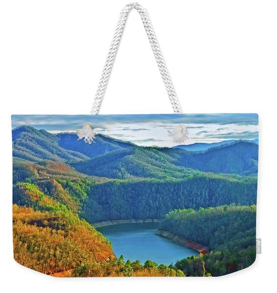 Serene Mountains And Lake Weekender Tote Bag