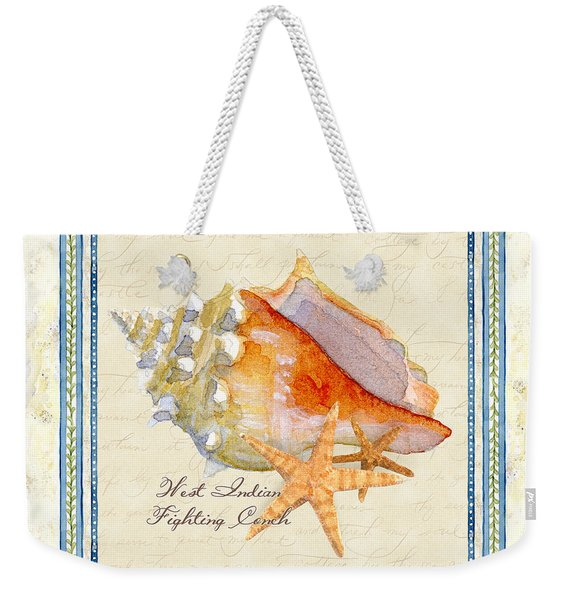 Serene Shores - West Indies Fighting Conch N Starfish Weekender Tote Bag