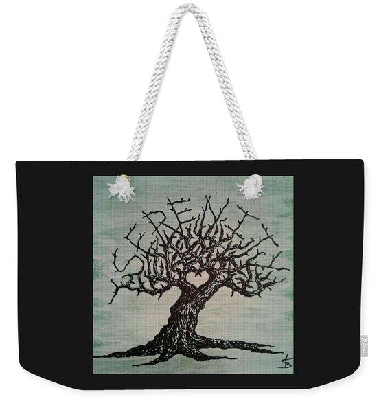 Weekender Tote Bag featuring the drawing Serenity Love Tree by Aaron Bombalicki