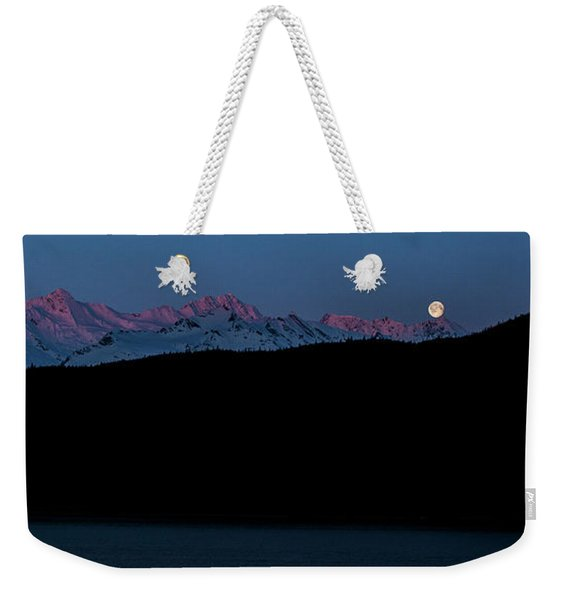 Setting Moon Over Alaskan Peaks II Weekender Tote Bag