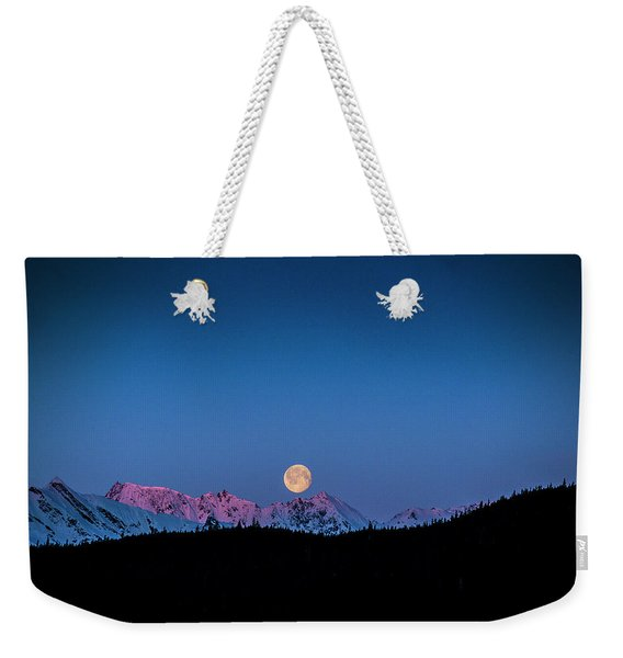 Setting Moon Over Alaskan Peaks Weekender Tote Bag