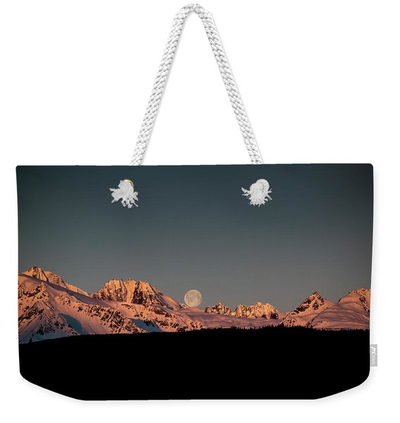 Setting Moon Over Alaskan Peaks V Weekender Tote Bag