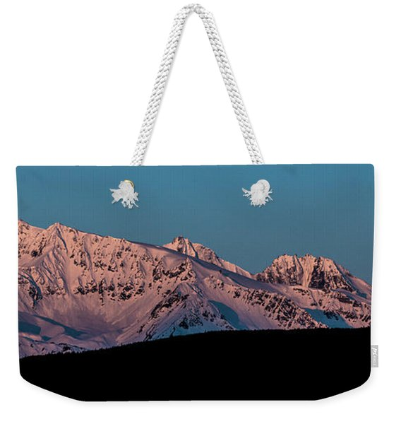 Setting Moon Over Alaskan Peaks Vi Weekender Tote Bag