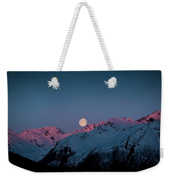 Setting Moon Over Peaks IIi Weekender Tote Bag