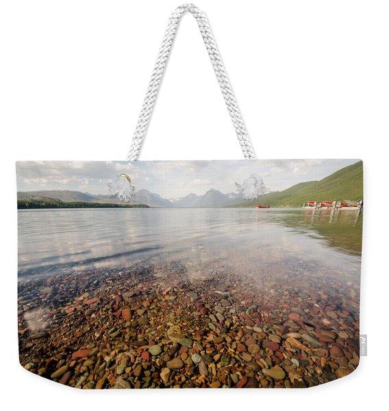 Setting Sun On Lake Mcdonald Weekender Tote Bag