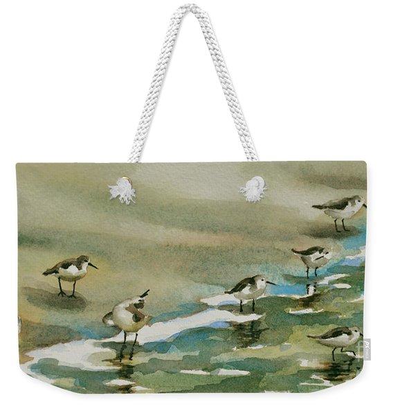 Seven Sandpipers At The Seashore  Weekender Tote Bag