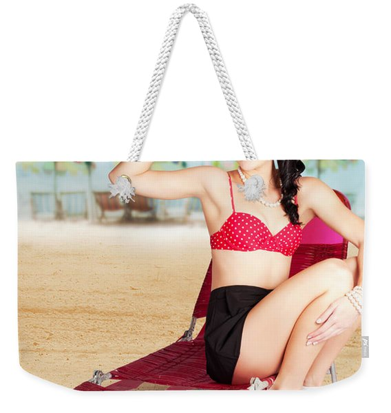 Sexy Beach Pin Up Girl Wearing High Heels Weekender Tote Bag