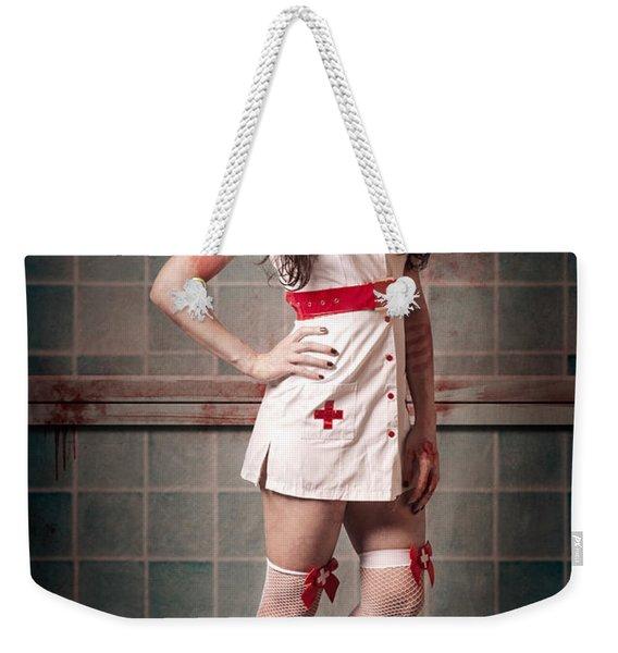 Sexy Zombie Medical Emergency Nurse In Hospital Er Weekender Tote Bag