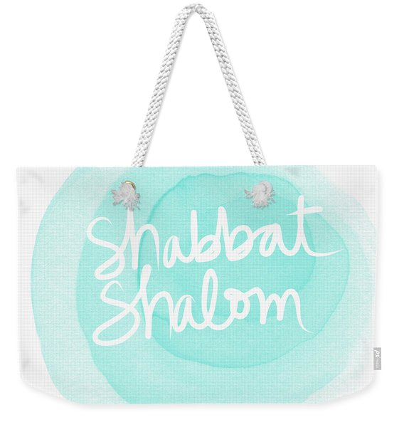 Shabbat Shalom Sky Blue Drop- Art By Linda Woods Weekender Tote Bag