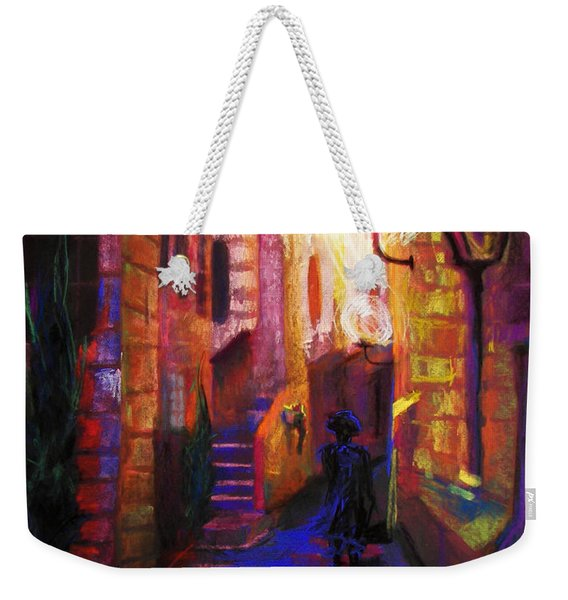 Weekender Tote Bag featuring the painting Shabbat Shalom by Talya Johnson