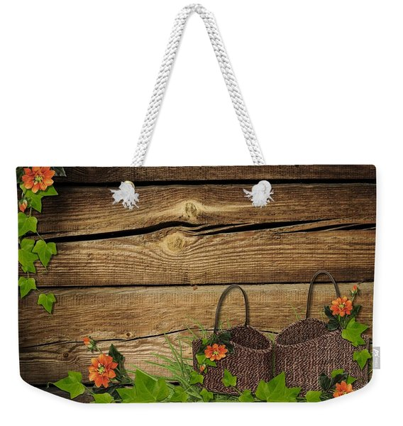 Shabby Chic Flowers In Rustic Basket Weekender Tote Bag