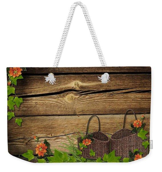 Shabby Chic Flowers In Rustic Basket Weekender Tote Bag
