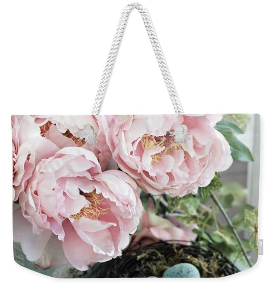 Shabby Chic Peonies With Bird Nest Robins Eggs - Summer Garden Peonies Weekender Tote Bag