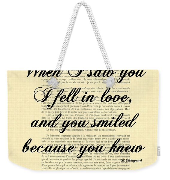 Shakespeare Quote Weekender Tote Bag