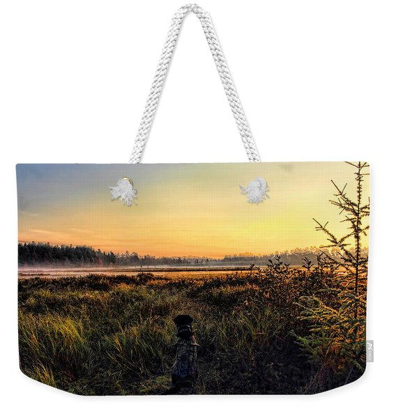 Sharing A September Sunrise With A Retriever Weekender Tote Bag