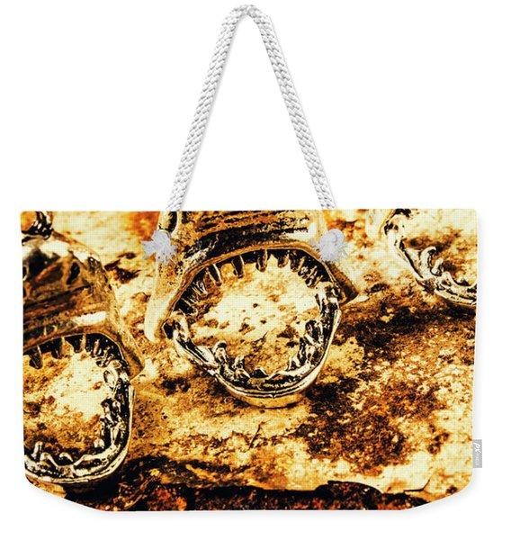 Shark Pendants On Rusty Marine Background Weekender Tote Bag