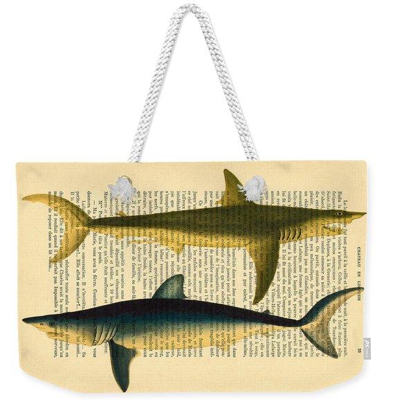 Sharks On Dictionary Art Paper Background Weekender Tote Bag