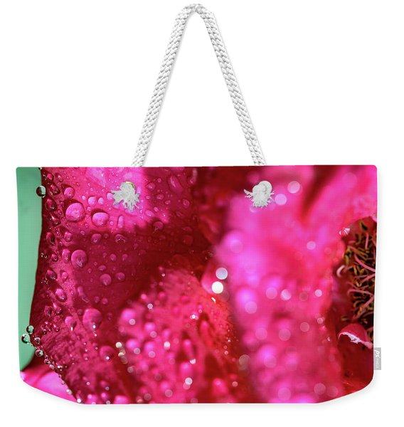 Sharp Wet Rose Weekender Tote Bag
