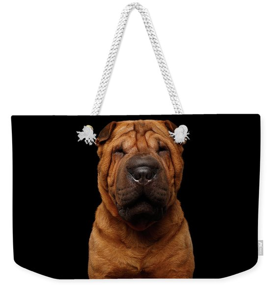 Sharpei Dog Isolated On Black Background Weekender Tote Bag