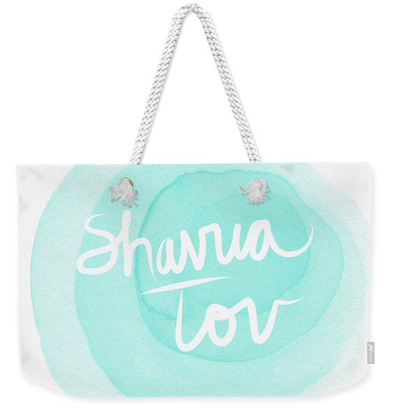 Shavua Tov Blue And White- Art By Linda Woods Weekender Tote Bag