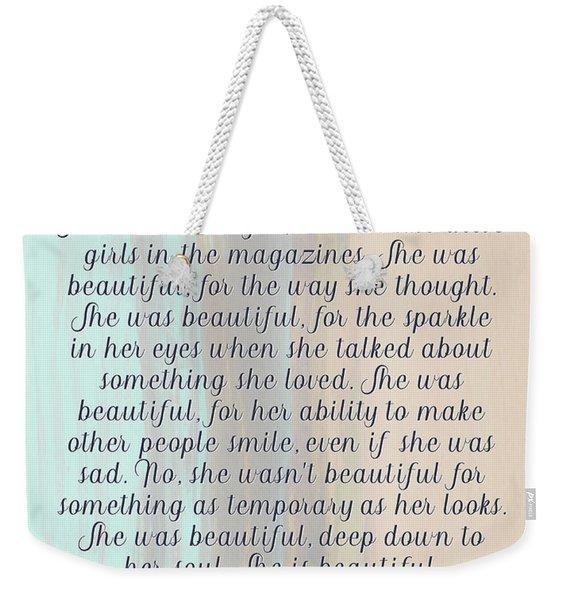 She Was Beautiful By F. Scott Fitzgerald 4 #painting #minimalism #poem Weekender Tote Bag