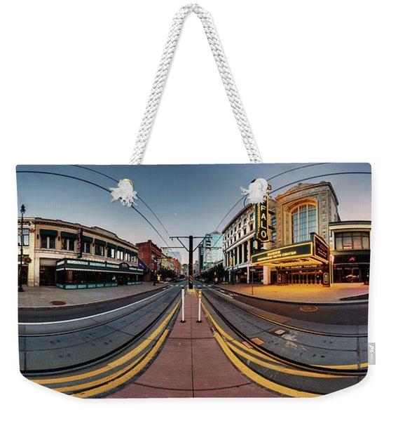 Shea's On Main Street Buffalo - Panorama Weekender Tote Bag