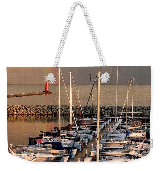 Sheboygan Harbor Rainbow Weekender Tote Bag