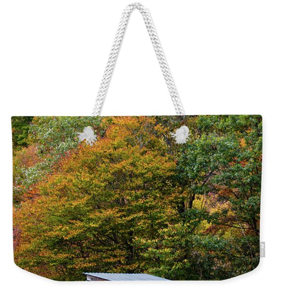 Weekender Tote Bag featuring the photograph Sheep And Foliage, Bethel, Maine #40206 by John Bald