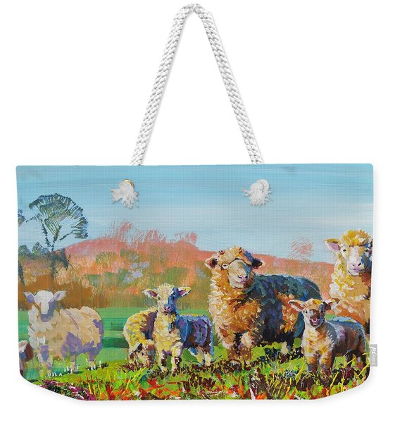 Sheep And Lambs In Devon Landscape Bright Colors Weekender Tote Bag