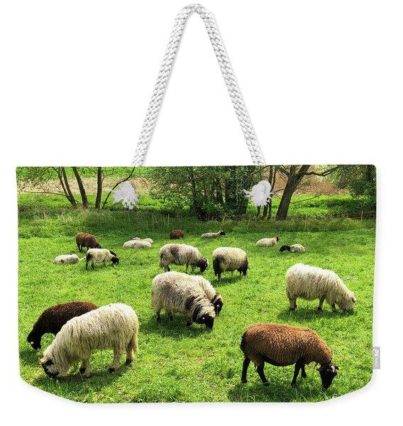 Sheep On Meadow Weekender Tote Bag