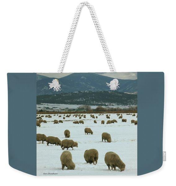 Sheep On Winter Field Weekender Tote Bag