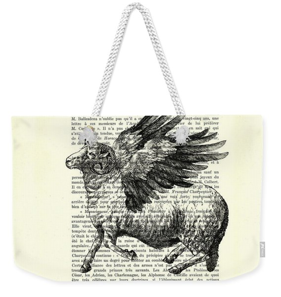 Sheep With Angel Wings Black And White  Weekender Tote Bag