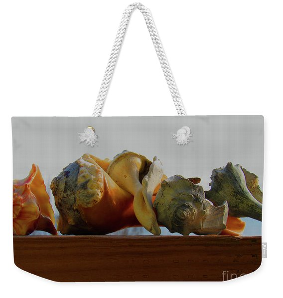 Shells Of The Sea In Orange And Gray Weekender Tote Bag