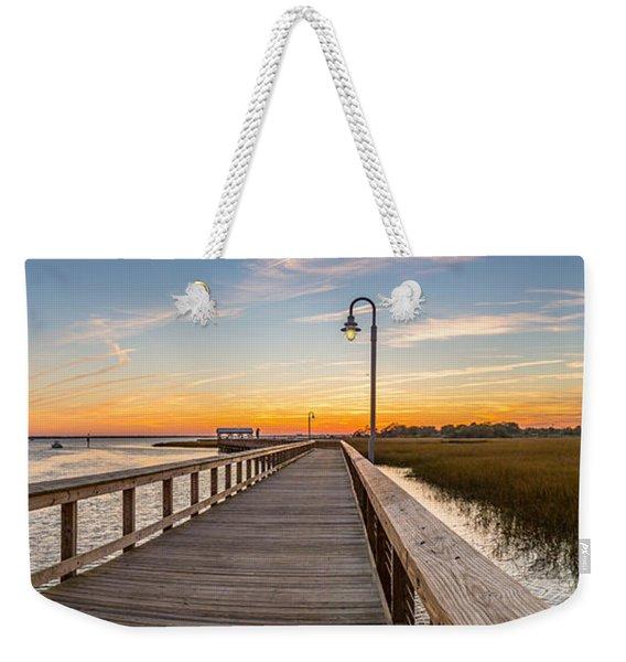 Shem Creek Pier Panoramic Weekender Tote Bag