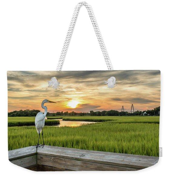 Shem Creek Pier Sunset Weekender Tote Bag