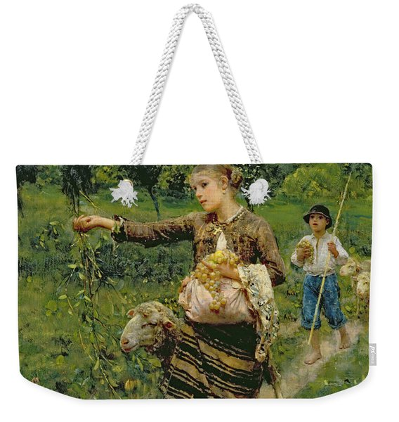 Shepherdess Carrying A Bunch Of Grapes Weekender Tote Bag