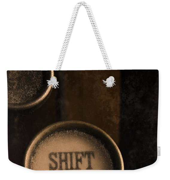 Weekender Tote Bag featuring the photograph Shift Key by Clayton Bastiani