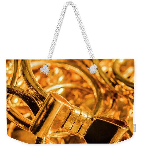 Shiny Gold Rings Weekender Tote Bag