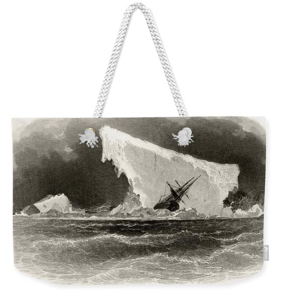 Ship Wrecked On Iceberg. Title Weekender Tote Bag