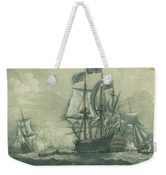 Shipping Scene With Man-of-war Weekender Tote Bag