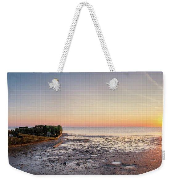 Shipwreck Panorama Sunset Weekender Tote Bag