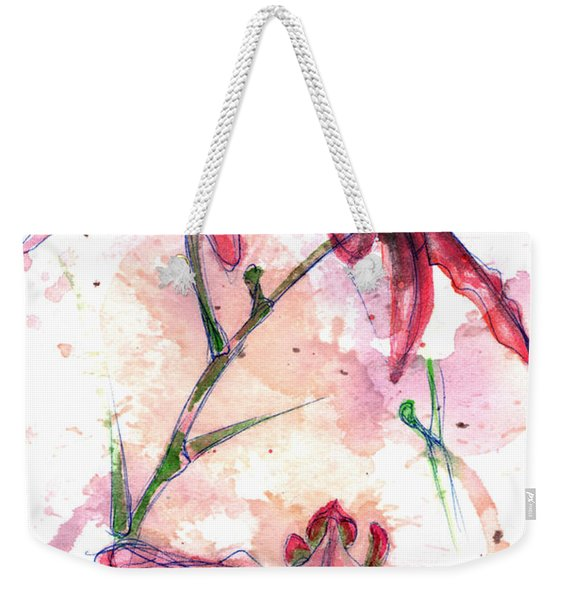 Weekender Tote Bag featuring the painting Shiraz Orchids I by Ashley Kujan