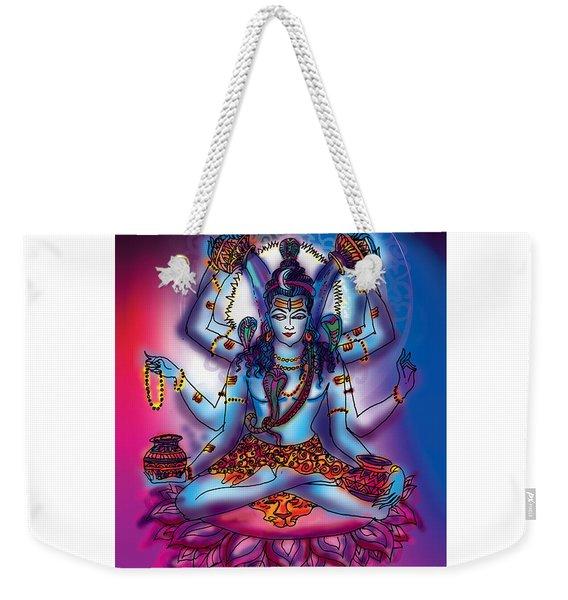 Weekender Tote Bag featuring the painting Shiva Abhishek  by Guruji Aruneshvar Paris Art Curator Katrin