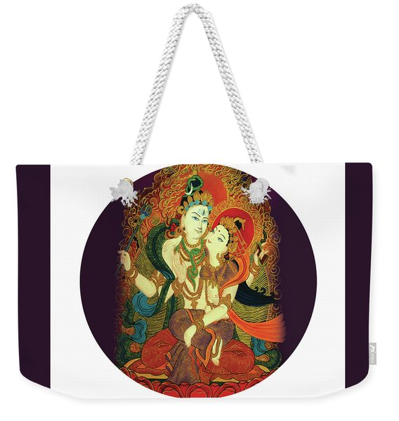 Weekender Tote Bag featuring the painting Shiva Shakti by Guruji Aruneshvar Paris Art Curator Katrin Suter