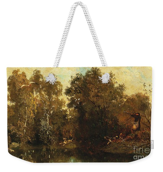 Shooting At A Woodland Pool Weekender Tote Bag