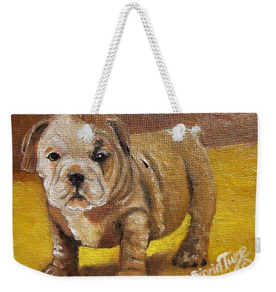 Chloe The   Flying Lamb Productions      Shortstop The English Bulldog Pup Weekender Tote Bag