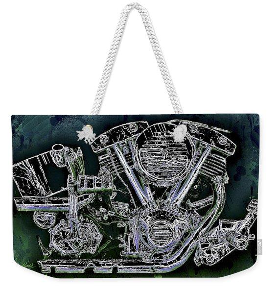 Weekender Tote Bag featuring the mixed media Harley - Davidson Shovelhead Engine by Al Matra