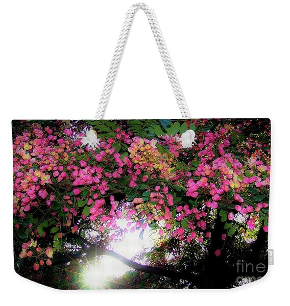Shower Tree Flowers And Hawaii Sunset Weekender Tote Bag