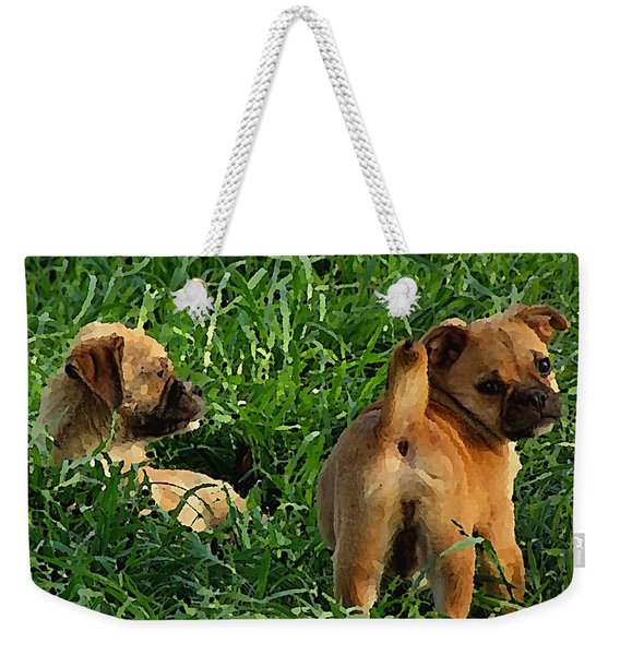 Showing Her Mutt. Weekender Tote Bag